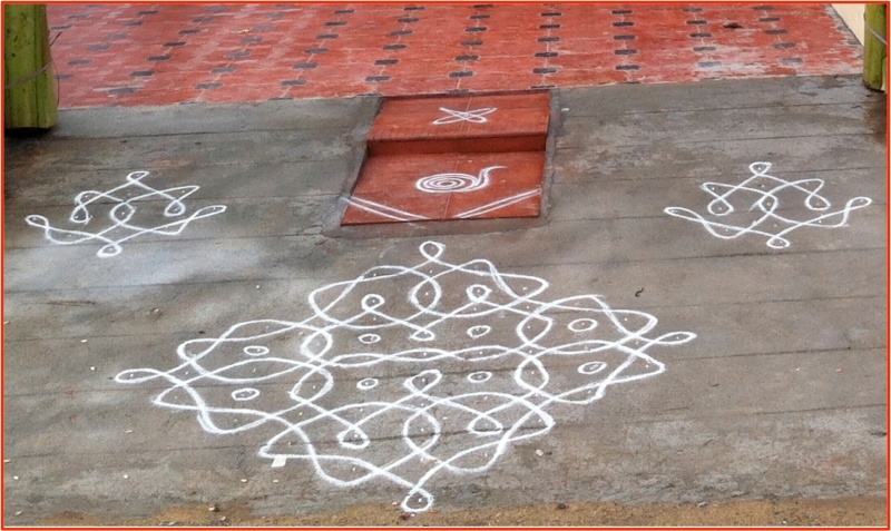 "The production of kolam designs is traditionally done by women in Tamil Nadu, India, to welcome guests while beguiling and trapping evil spirits. Alfred Gell, in his ground-breaking work on the anthropology of art (1998), notes that the hierarchical and sometimes-fractal structure of the kolam design exerts agency on social beliefs and practices that constitute household formation, the family's connection to wider society, and cosmological conceptions of order and chaos. Thus, artistic products stand in an asymmetrically reciprocal, non-nested hierarchical relationship to the beliefs and practices that exert agency on these products. Photo cropped from user Arulraja's contribution to wikipedia.org, ""Kolam in front of the House during House warming in Tamil Nadu."""